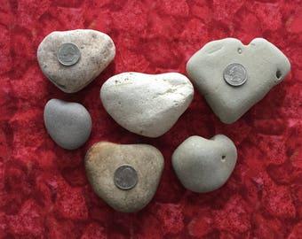 Collection of 6 heart shaped beach rocks ~ Lake Michigan rocks