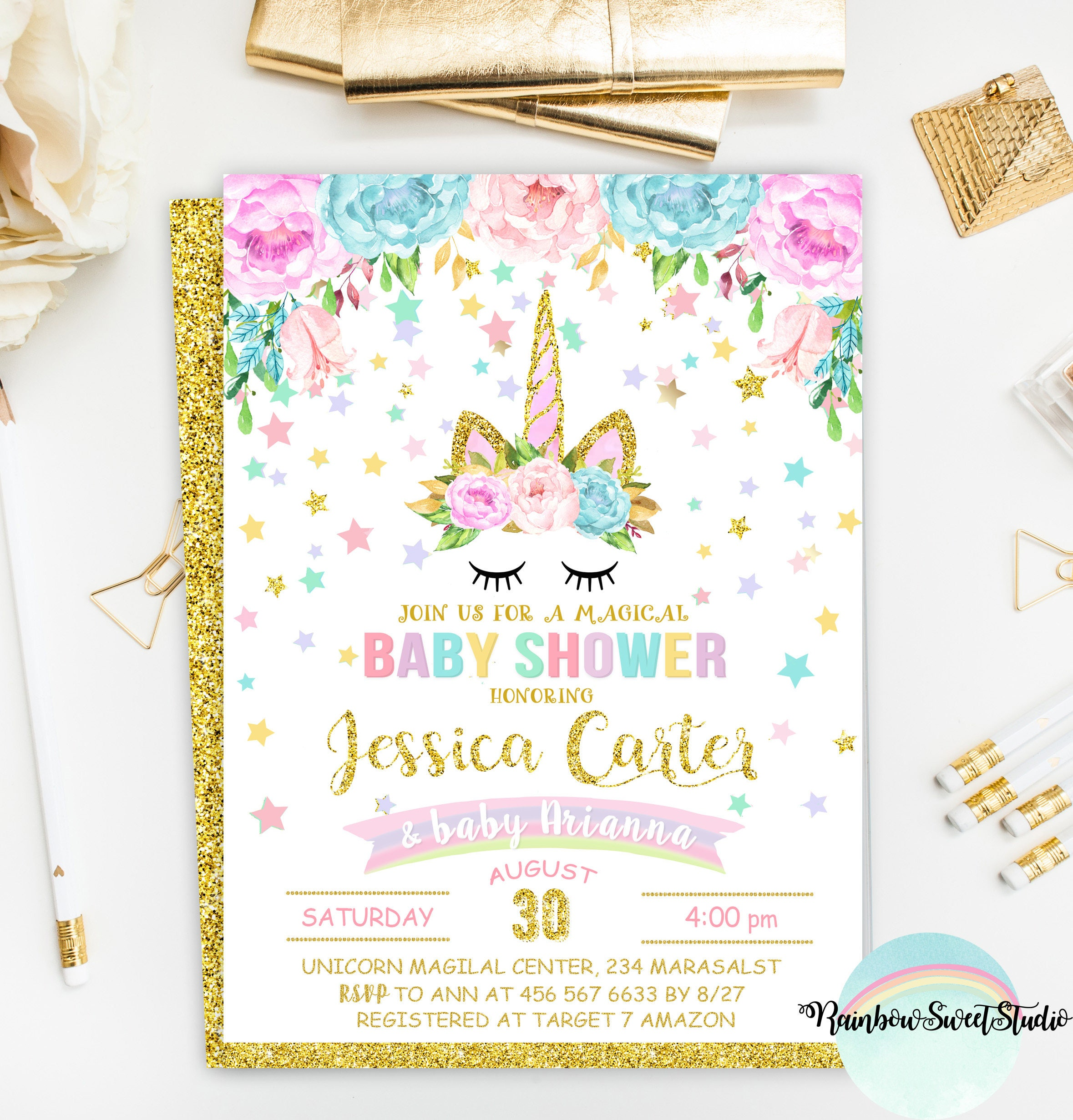 Unicorn Baby Shower Invitation Magical Unicorn Baby Shower