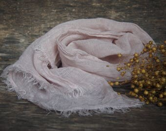 Linen Scarf, Pale Pink Scarf, Linen Gift