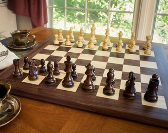 Tournament size wooden chess set | chess board with wooden chess pieces | walnut and maple chess board | competition chess set