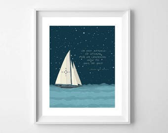Nursery Sailboat Print - Nautical Nursery Print - Boys Sailboat Art - Sailboat Print - Starry Sky Boat print - Nautical Nursery Wall Art