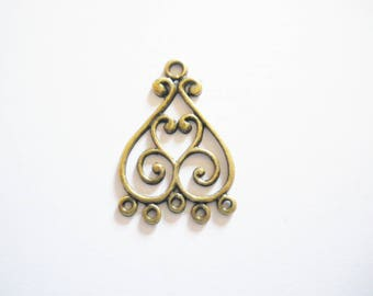2 chandelier antique bronze heart pendants