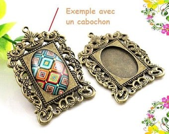 Support cabochon 50 mm x 35 mm pendant