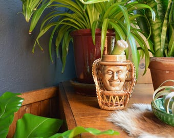 Vintage Small Wicker Chair with Ceramic Head Planter   Boho Bohemian Decor   Quirky Head Planter with Wicker Chair