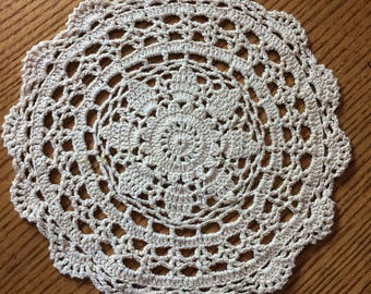 "Vintage Ecru Crocheted Round Cotton Doily 8-3/4"" diameter - Upcycle Repurpose Crafts"