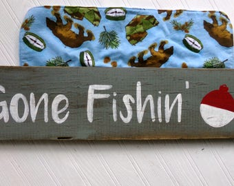 Gone Fishing Wood Sign, Woodland Nursery Decor, Patio Fishing Sign, Fishing Themed Nursery Decor, Hunting Nursery Sign, Outdoor Patio Sign