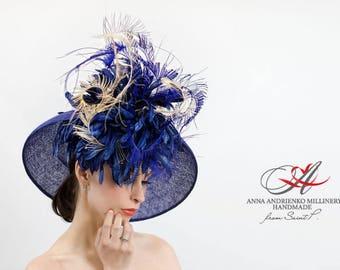 Dark Blue  White Wide Brim Fascinator Hat. Audrey Hepburn Kentucky Derby Hat. Church Hat, Wedding Hat, Women's summer hat, Formal Hat