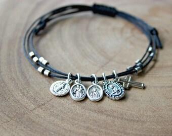 Religious Medal Bracelet / Saint Medal Cord Bracelet