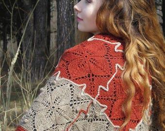 """Knit shawl - boho knitted shawl - wool shawl - hand knit shawl - handmade knit shawl -  hand knitted shawls - unique shawl """"Autumn garden"""""""