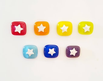 Rainbow Star Magnets Set of 7 Mini Fused Glass Handmade Fridge Magnets