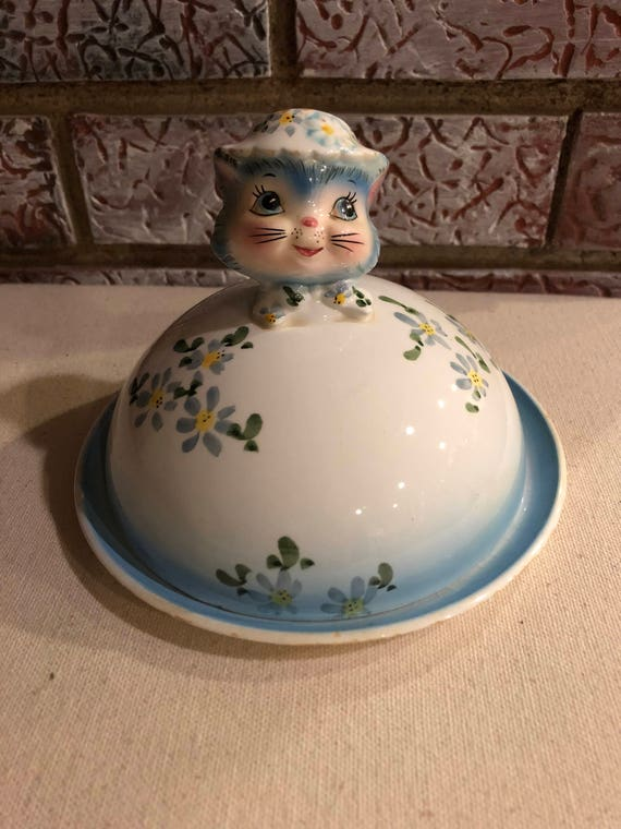 FREE SHIPPING-Miss Priss Covered Butter Dish