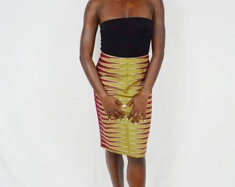 Berry Pulse Design Pencil Skirt, Ankara Pencil Skirt, African Wax Short Skirt – Made to Order