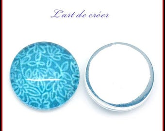 10 x turquoise, blue flower glass cabochon, 12mm