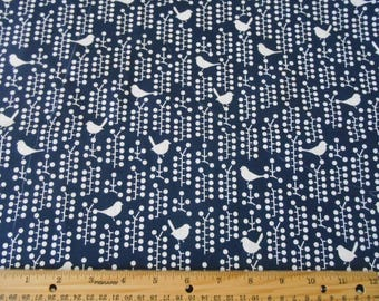 Navy blue with white birds cotton fabric by the yard