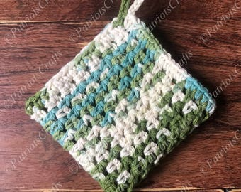Mesh Dishcloth, Green Blue Tan, Cotton, Crocheted Washcloth, Handmade