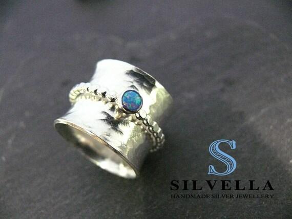 Sterling Silver Spinner Ring - Opal Spinner Ring