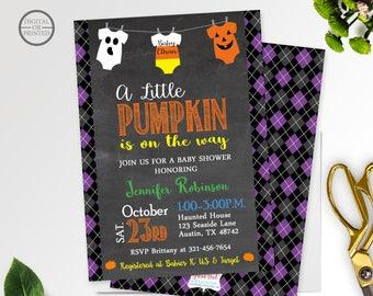 Halloween Baby Shower Invitation   A Little Pumpkin Baby Shower Invitation   Fall Baby Shower Invitation   Onesie Chalkboard