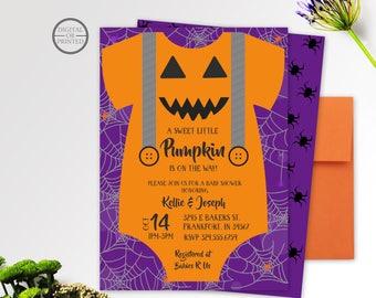 Halloween Baby Shower Invitation | A Little Pumpkin Baby Shower Invitation | Fall Baby Shower Invitation | Onesie Baby Shower Invitation