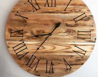 "Rustic Old Wood Clock - 35"" - Sample - will be made on order"