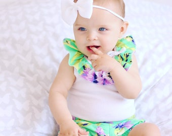 Baby Girl Clothes, Ruffle Bonds  singlet & matching high waisted shorties baby girl outfit