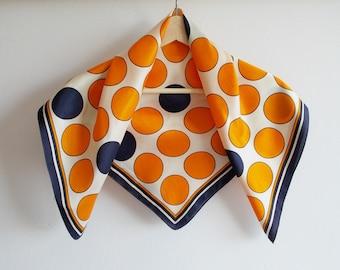Vintage scarf, white orange and navy blue scarf dotted scarf vintage neckerchief polka dots headscarf, mid-century accessories, Mad men no12