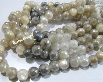 Exclusive Quality Natural Multi Moonstone Beads , Round Faceted Mystic AB Coated Moonstone Beads 8-9 mm , Strand 10 inches , Gemstone Beads.