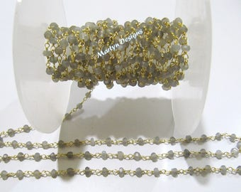 Natural Grey Moonstone Rondelle Faceted Beaded Chain , Moonstone Beads Rosary Chain 3-4mm , Wire Wrapped Beaded Chain , Sold per One Foot