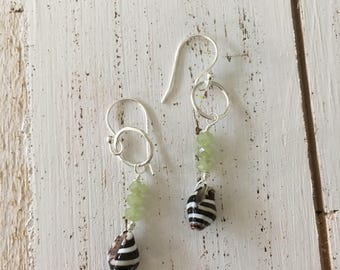 Shell with beads earrings