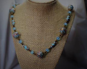 NEW PRICE**Venetian Blue Glass Gold Aventurine Wedding Cake Bead Necklace