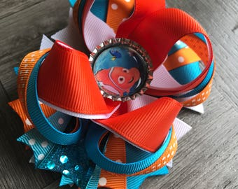 Finding nemo hair bow, finding nemo bow, finding nemo hair bow, Hair bows, bows, orange hair bow, orange and white bow