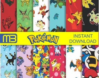 Pokemon pattern digital paper pack - printable papers - Instant download - 12x12 inches papers - for home printing - DIY