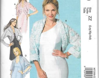 Misses Jackets and Shrugs, Sizes Lrg Thru XXL, New Uncut McCalls Pattern 7289
