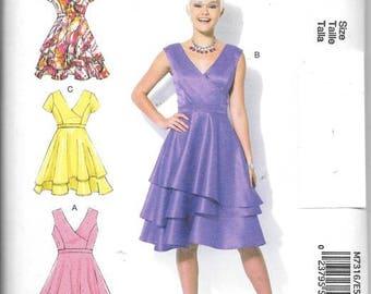 Misses Dressy Dresses, Sizes 6 Thru 14, New Uncut McCalls Pattern 7316