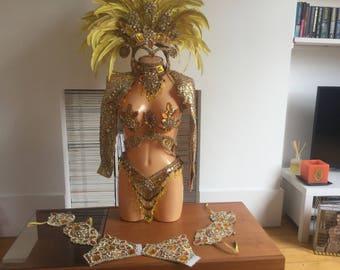 Gold Professional Samba Costume, Carnival and Showgirls