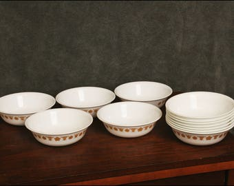 """12 pc Vintage Corning Corelle 6"""" Soup Bowl butterfly gold lot berry cereal set mid century modern dish white"""