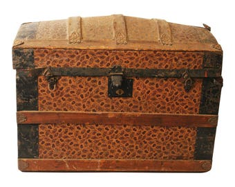 Vintage CAMELBACK TRUNK storage chest steamer train luggage antique toy box wood lid dome top brown rustic primitive wooden humpback