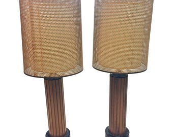 Vintage TABLE LAMP PAIR w Wicker Shade Danish Modern round wood mid century 50s/60s round brown kagan adrian pearsall milo baughman lighting