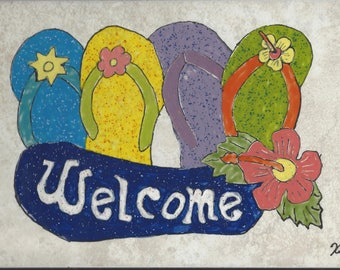 Flip Flop Welcome #005 Hand Painted Kiln Fired Decorative Ceramic Wall Art Tile 8  x 12
