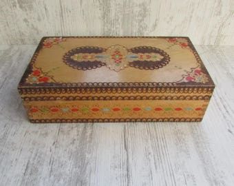 Vintage Large Wooden Jewelry Box, Box Barber Accessories, Handmade Pyrography Wooden Box, Old Memory Box, Vintage Gift Idea