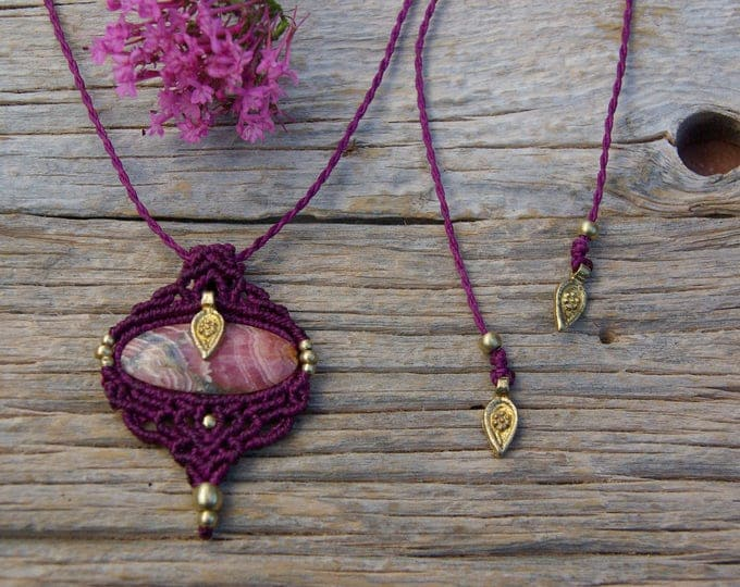 Macrame pendant, fuchsia color, with RODOCROSITE, brass beads, goddess necklace, adjustable, fairy necklace, ethnic jewelry, stone talisman