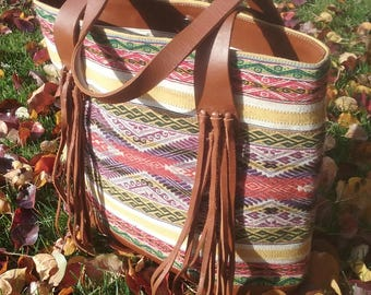 Handmade leather and handwoven tote bag