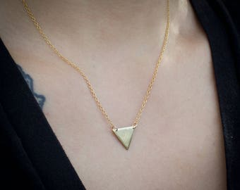 "Brass handmade small triangle necklace on gold-filled 16-18"" chain."