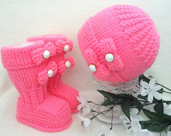 Baby Girl Hat Baby Girl Shoes Newborn Girl Outfit Baby Shower Baby Gift Newborn Photo Prop Baby Girl Gift Crochet Baby Set Infant Beanie