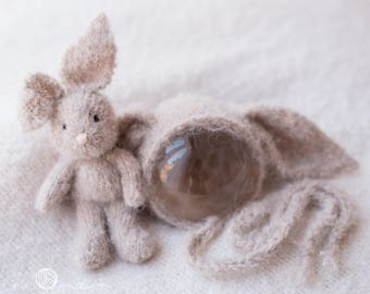 Bunny and bonnet set, Bunny Rabbit, Knitted Rabbit, Photography prop, Off White bunny, beige bunny, bunny prop