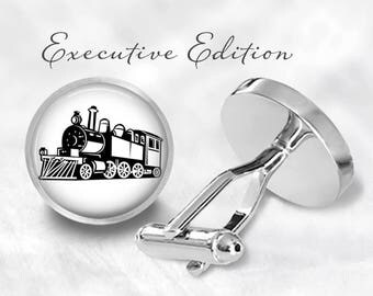Steamtrain Cufflinks - Locomotive Cuff Links - Train Cufflink - Railroad Cuff Link (Pair) Lifetime Guarantee (S1267)