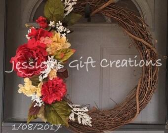 Made to Order Valentine's Day Grapevine Wreath/Front Door Wreath/Everyday Wreath/Love/Monogram Wreath/Spring Decor/Summer/Welcome Wreath