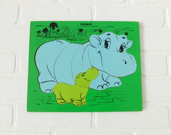 Vintage Wood Playskool Hippo Frame Tray Puzzle 275-38, Wood Puzzle, Learning Toys