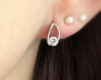 Sterling Silver Crystal Stud Earrings, Silver Earrings, Silver Post Earrings, Simple Studs, Small Posts, Bridal Earrings, Wedding Earrings