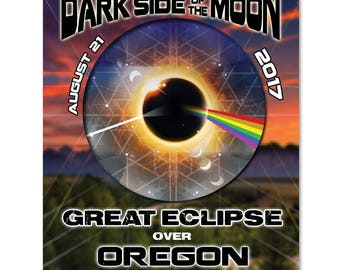 EC025 - Oregon - Dark Side of the Moon Total Solar Eclipse 2017 Sticker (or MAGNET)