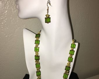 Green glass trimmed in gold